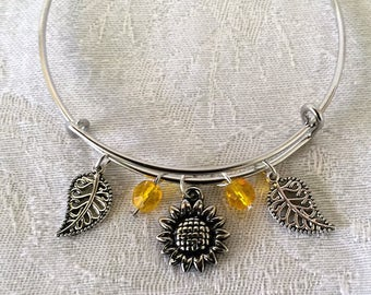 Silver Sun Flowers With Yellow Crystals Wire Adjustable Bangle Bracelet