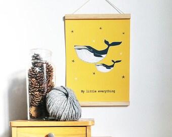 Affiche enfant - Baleine - Moutarde et bleu - décoration murale - chambre enfant - cadeau naissance - cadeau noêl