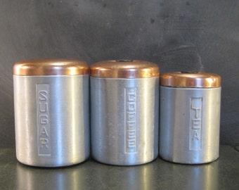 Vintage Retro Three Piece Spun Aluminum Kitchen Canister Set-Sugar Tea Coffee