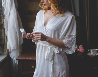 White Bridal Robe with Lace Sleeves - Gift for Bride - Wedding Gift - Getting Ready Robe