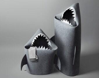 SHARK, Felt laundry basket for bathroom or children's room as a basket for toys, Shark felt kids toy storage basket, Basket Bin, Gift ideas,