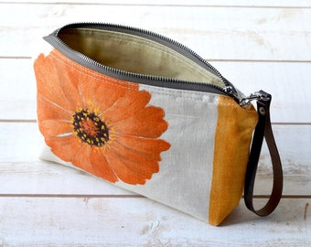 DESIGNER GUILD pouch OOAK - flower pouch, make up bag, travel pouch, zipper pouch,gift pouch,cosmetic toiletry bag,  daily make up pouch