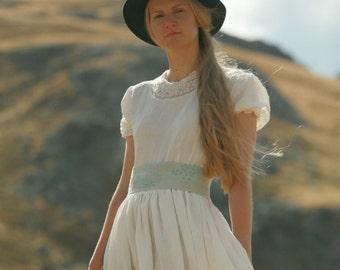 Maxi robe en lin rustique, pays et robe de mariée bohème