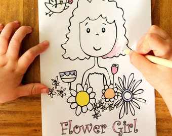 Kids Coloring page - Flower Girl Coloring Page - Kids Favor - INSTANT DOWNLOAD - Printable book #weddingcoloringbook