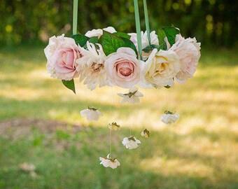 Flower Chandelier, Floral Mobile, Wedding Chandelier, Baby Mobile Woodland, Flower Mobile, Wedding Decoration Vintage, Hanging Flowers,