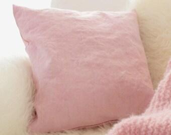 Leinenkissen - pillow case pale pink - throw pillow pink - linen pillow case pink - 50cm - 20inch - european linen - handdyed linen - pastel