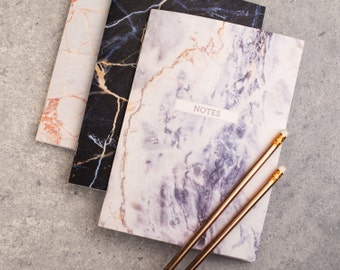 Notebook set - Stationery gift -Set of three Marble Notebooks -present for mum,gift for friend,mothers day gift,stationery set, gift for mum