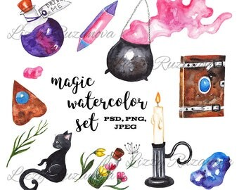 Magic watercolor set. Hand painted illustration PSD