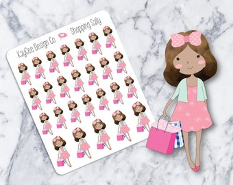 Shopping Sally / Planner Stickers / Hand Drawn / Tracking / Fits Erin Condren & MAMBI / Filofax / Kikki K / Scrapbook
