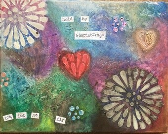 11x14 Mixed Media Canvas Collage Original -Heartstings