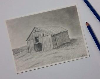 Barn Art - Pencil Drawing - Old Barn - Original Drawing - Barn Art - Barn Wall Decor - Barn Drawing - Country Art - Country Decor