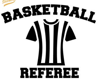 Silhouette Jersey with Basketball Referee Text - Available Custom Top and Bottom Text - Vinyl Car Decal Sticker