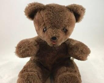 Vintage Dark Brown Teddy Bear Plush Trudy Toys, Sitting Teddy Bear Stuffed Animal, Nursery Decor, Made in USA, Vintage Stuffed Bear