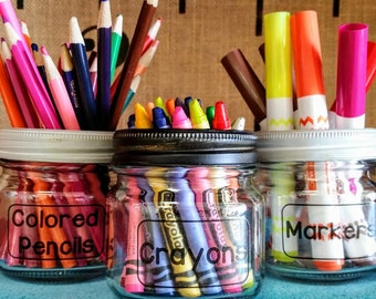 School Supplies Tidy Trio / School Supplies Organizer / Classroom Supplies Organizer / Mason Jar Organization / Jar Organizer / Mason Jars