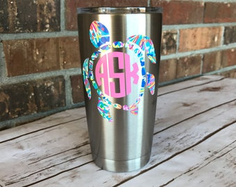 Sea Turtle Decal - cute monogram sticker - yeti decal for women - vinyl rtic decal - Lilly Pulitzer inspired vinyl - Lilly monogram