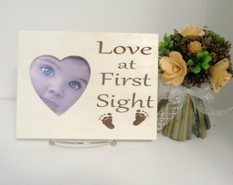 Love at First Sight Picture Frame, Ultrasound Frame, New Parents Gift, New Mom, New Dad, New Baby, Engraved