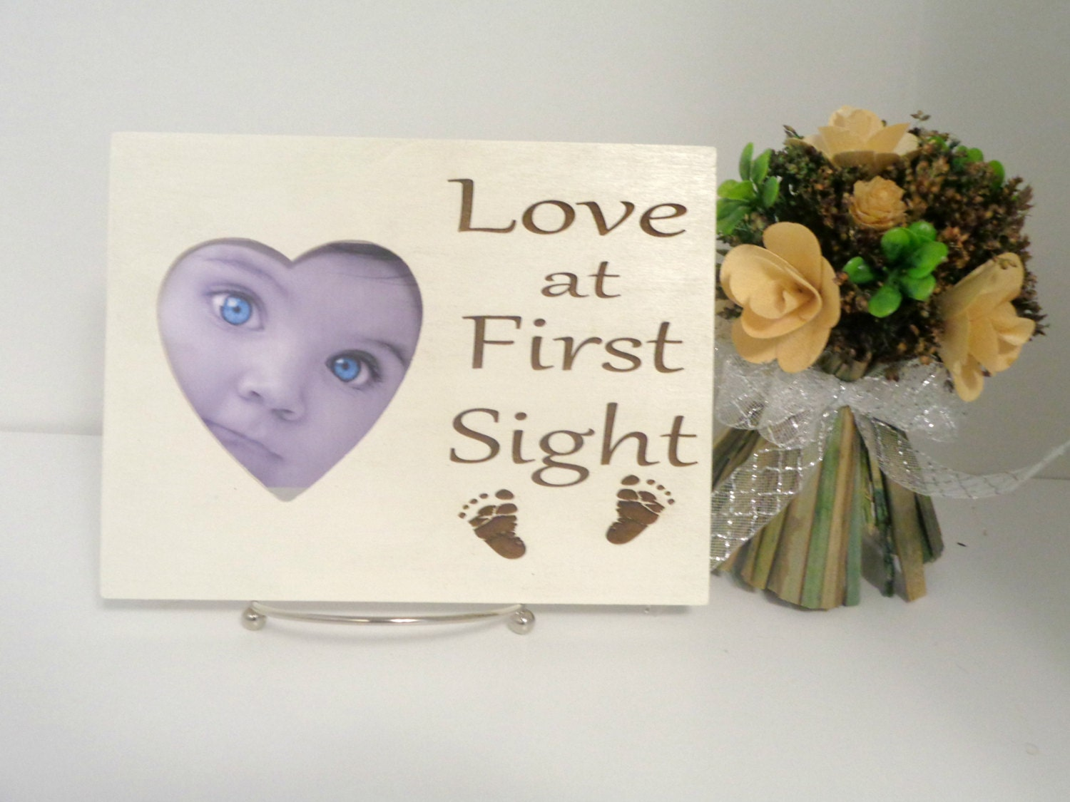 love at first sight picture frame ultrasound frame new parents gift new mom new dad new. Black Bedroom Furniture Sets. Home Design Ideas