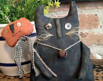 Primitive Handmade Olde Fat Black Cat n Pumpkin Stick