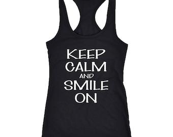 Smile on Racerback Tank Top T-Shirt. Funny Smile on Tank.