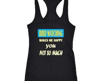 Bird watching Racerback Tank Top T-Shirt. Funny Bird watching Tank.