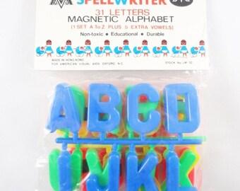 Spellwriter 31 Letters Magnetic Alphabet Magnets, New Old Stock, 1970s, Alphabet Magnets, ABC MAgnets, Fridge Magnets, Refridgerator