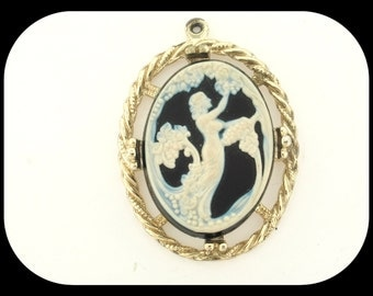 """Vintage Heavy Lady of the Lake Woman Lady Cameo PENDANT 2 1/8"""""""