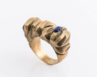 Bronze ring for woman with blue stone