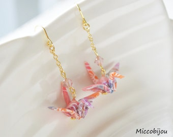 Origami Crane Earrings - Rainbow