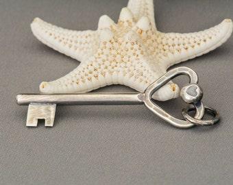 Silver Key, Heart Key, Key Necklace, Key Pendant, Key Charm, Handmade Key, Key to My Heart, Gift for Her,