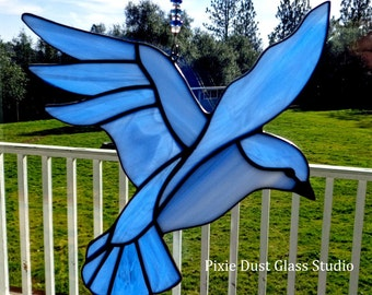 Stained Glass Suncatcher, Blue Bird of Happiness Window Hanging, Soothing Blue Color Glass Bird, Bird Lover, Garden Decor, Mother's Day