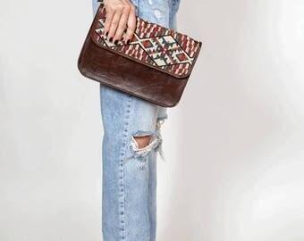 Brown leather bag, leather purse, shoulder bag, bohemian handbag, gift for women, modern bag, smalle leather bag, brown clutch handbag,