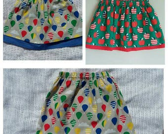 Girls cord skirt, balloons skirt, organic cotton cord apples skirt, Liberty corduroy, cotton underskirt, gift for a girl, 2 3 4 5 6 7 years