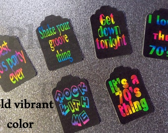 70's party tags, 80's party tags, I love the 70's, I love the 80's, 70's tags, 80's tags, 70's & 80's party tags, music theme tags
