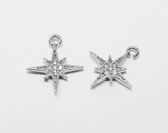 P0511/anti-Tarnished Rhodium Plating Over Brass/Cubic Shinning Star Pendant/12.5x14mm/2pcs