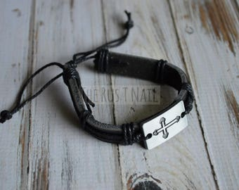 FREE SHIPPING - Black Leather Bracelet with Silver Plated Cross - Unisex Cuff Bracelet