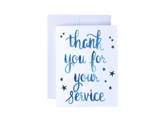 Thank You For Your Service - Military Greeting Card, Military Care Package Card, Public Service Card, Thank you, Police, Firefighter