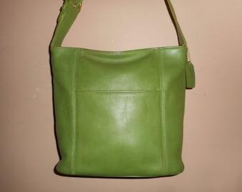 VINTAGE COACH Large Green Hobo Shoulder Bag w/Hang tag #E7C-4169 USA