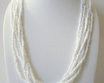ON SALE Retro Crisp White Chunky Glass Beads Multi Strand Necklace 112816