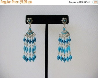 ON SALE Vintage Long Silver Blue Dangle Chandelier Earrings 12017