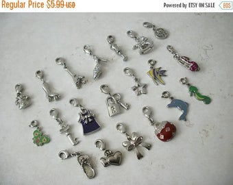 ON SALE Vintage Silver Tone Metal Enameled Charms Lot Of 20 40217