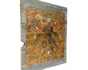 "Handcrafted Rainbow Patina Copper and Reclaimed Wood Wall Clock 16""x14"""