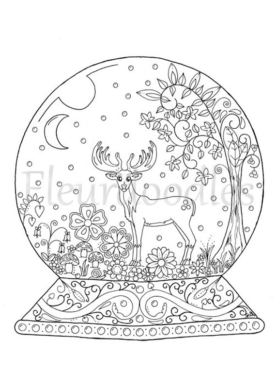 adult coloring page Snow Globe instant download by ...