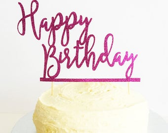 Happy Birthday Cake Topper, Pink Glitter Decoration, Sparkle, Birthday Decoration, Any Birthday, Colour Customised, Birthday Cake Decor
