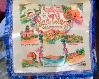 1950's San Diego souvenir pillow cover, in excellent condition
