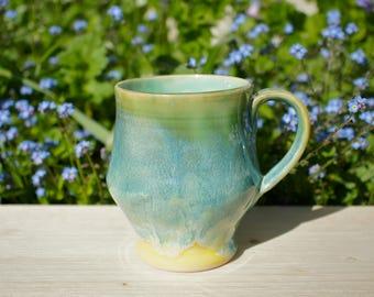 Large Turquoise Handmade Mug - Unique Coffee Mug - Stoneware Mug - Pottery Mug - Unique Mug - Ceramic Mug - Unusual Mug - Summer Mug
