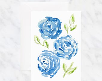 Watercolor Flower Card - Peony Card - Friendship Card - Thinking of You Card - Blank Card - Blue Flower Card - Birthday Card - Floral Card