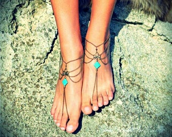 Ankle bracelet with turquoise