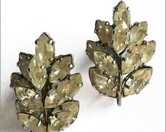 50's Rhinestone Leaf Earrings