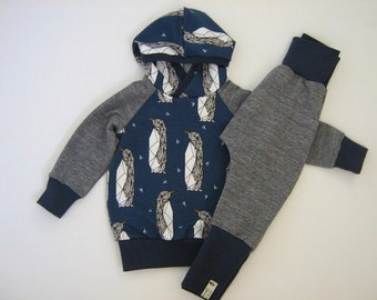 Baby set hipster 2 PCs. Hooded Hoodie pants organic French Terry hooded pullover unique harem pants Sweatshirt