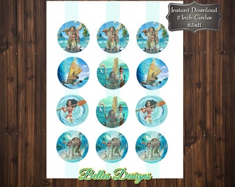 Moana, Birthday, Cupcake Toppers, Bottle Cap Images, 2 inch, Cirlces, Party Decor, Stickers, Tags, Craft Supplies*Digital File*